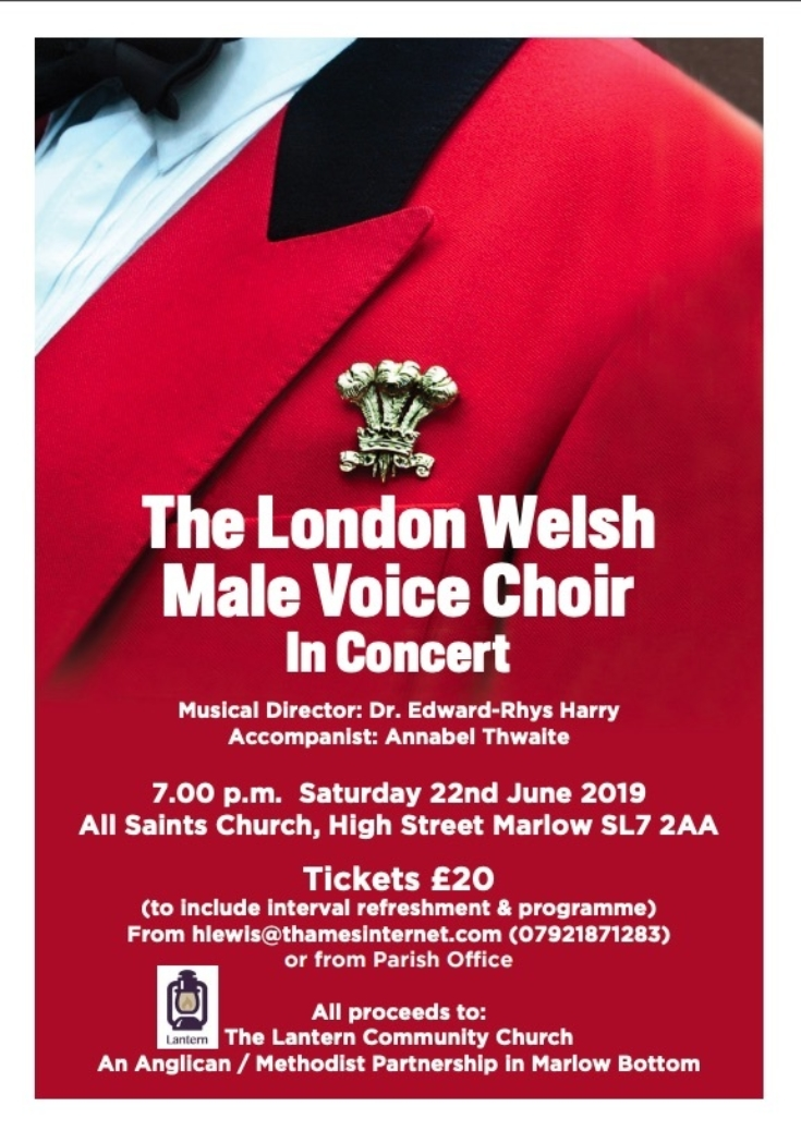 London Welsh Male Voice Choir Flyer  - Marlow 22nd June 2019